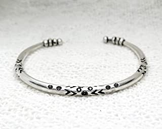 Handmade Sterling Silver Thick Solid Rounded Boho Hippie Cuff Bracelet With Ethnic Tribal Patterns Engravings and Beads, Gift for Her