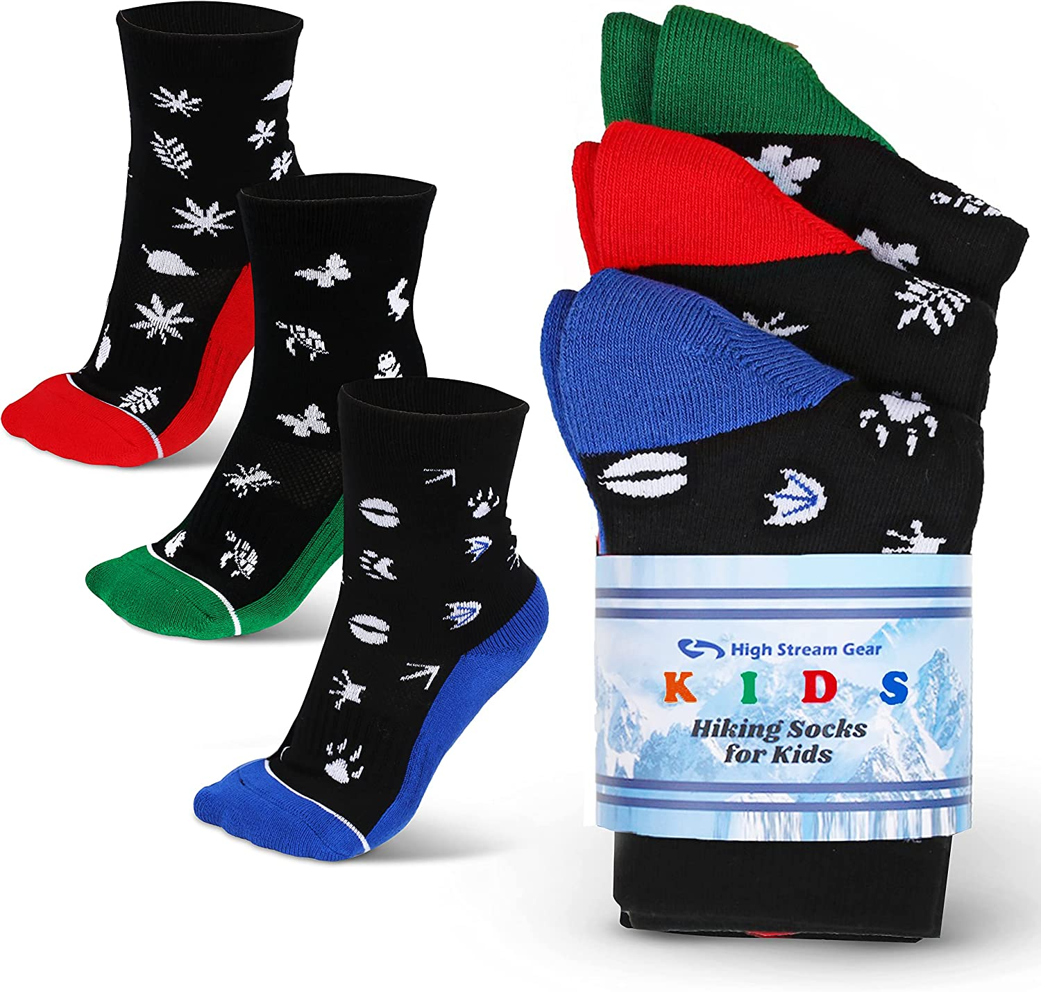 Hiking Socks for Kids-3 Pack of Cushioned Socks for Trekking, Sports and Camping