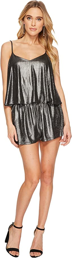 Jack by BB Dakota - Delfina Metallic Crinkle Knit Romper