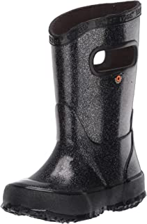 BOGS Kids Rainboots Waterproof Rubber Rain Boots for Boys and Girls, Glitter - Black, 4 M