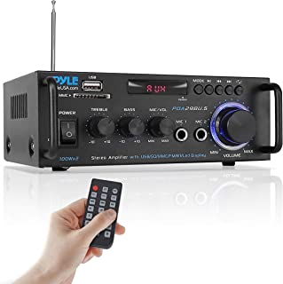 Pyle Wireless Bluetooth Stereo Power Amplifier - 200W Dual Channel Sound Audio Stereo Receiver w/RCA, USB, SD, MIC in, FM ...