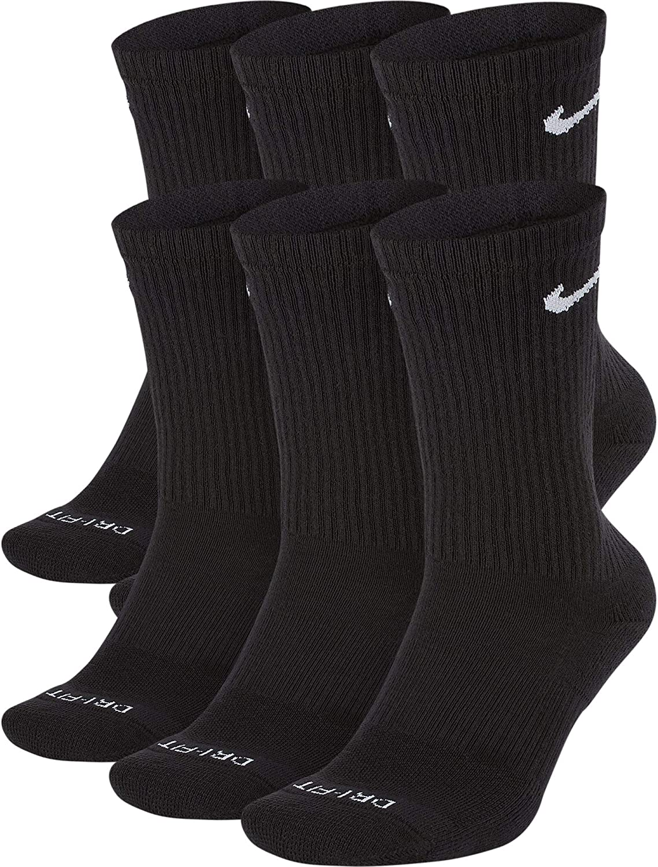 Nike Mens Everyday Plus Cushion Crew Socks (Large, Black/White)