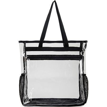 SPEEDEVE durchsichtige Tragetaschen transparente Handtasche für Reisen Strand Arbeit Fitnessstudio,5007-Schwarz