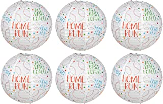 Juvale Baseball Paper Lanterns - 6-Pack Round Shaped Decorative Hanging Paper Lantern, Baseball Sayings Design, Game Day Party Decorations, Sports Theme Party Supplies, White, 11 Inches Diameter