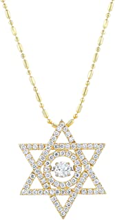 Olivia Paris 14K Gold 5/8 Carat (cctw) 6 Point Star with Dancing Diamond (Yellow or White)