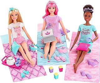 Barbie GJB68 Barbie Princess Adventure Playset with 3 Barbie Dolls and Pyjama Party Supplies