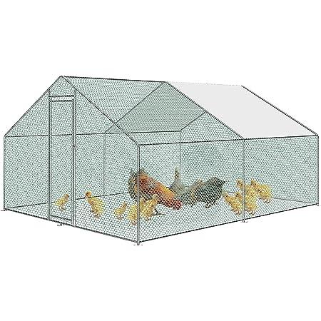 Froadp Gallinero Exterior Grande Jaula Gallinero de Metálica Cercado Exteriores con Techo de Protección Solar de PE y Candado para Gallinas Animales Conejos Pequeños(3x4x2m)