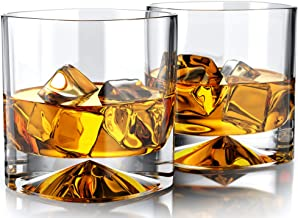 MOFADO Crystal Whiskey Glasses - Western/Square - 12oz (Set of 2) - Hand Blown Crystal - Thick Weighted Bottom Rocks Glass...