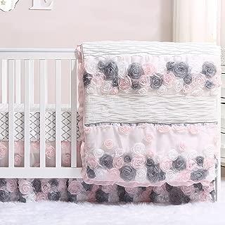 gray and pink crib set