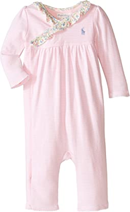 Ralph Lauren Baby Interlock Wrap Stripe One-Piece Coveralls (Infant)