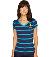 U.S. POLO ASSN. - Short Sleeve Steriped V-Neck T-Shirt