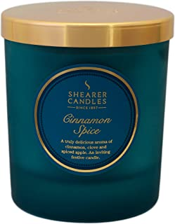 Shearer Candles Cinnamon Spice Scented Jar Candle with Lid, Teal
