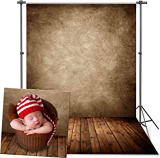 VEOEOV Professional Photography Backdrop, 5X7ft Retro Brown Wall Wood Floor Backdrops for Photoshoot, Thickened Photo Backdrop for Newborn Photography, Photo and Video Studio