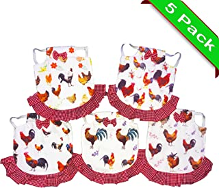 seidens Chicken Saddle Set: 5 Cute Durable Cotton, Easy Elastic-Strap-On Aprons for Medium Sized Poultry in Hen-Themed Patterns with Bows and Frills,Red