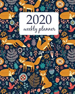 2020 Weekly Planner: Calendar Schedule Organizer Appointment Journal Notebook and Action day With Inspirational Quotes  Cute Funny Orange Fox and Flowers. (Weekly & Monthly Planner 2020)