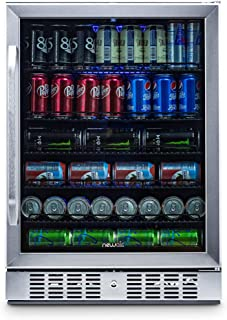 NewAir Built-In Beverage Cooler and Refrigerator, Stainless Steel Mini Fridge with Glass Door, 177 Can Capacity, ABR-1770