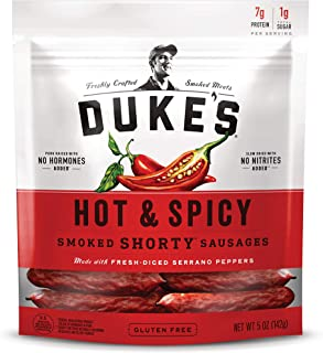Duke's Hot & Spicy Smoked Shorty Sausages, Keto Friendly, 5 oz. (Pack of 8)