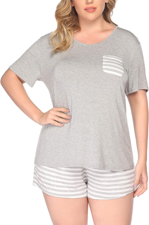 IN'VOLAND Women's Plus Size Pajama Set Striped Short Sleeve Pj Sets Two Piece Sleepwear Set Nightwear Lounge with Pockets