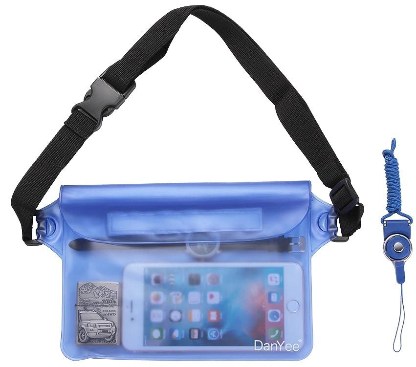 クリップ排泄物凝視Danyee 防水ポーチ 防水ケース [一年間品質保証] 3重チャック PVC素材 (ブルー) 海水浴 プール 釣り バイク ウエストバッグ 防水パック 携帯