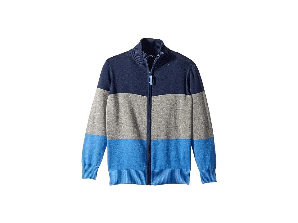Toobydoo Knit Zip-Up Sweater (Toddler/Little Kids/Big Kids) (Blue Color Block) Boy