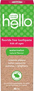 Hello Natural Watermelon Flavour Kids Fluoride Free Toothpaste, Vegan, SLS Free, Gluten Free, Safe to Swallow for Baby and...