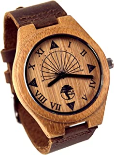 Viable Harvest Men's Wood Watch, Unique Sundial Design, Natural Bamboo, Genuine Leather and Gift Box