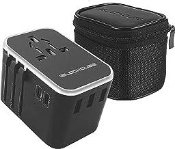 iBlockCube Worldwide Travel Adapter International Plug [US UK EU AU] with Dual type C Charging Ports [Dual USB 5V/2500mA] & Universal AC Socket, Safety Fused (Silver)