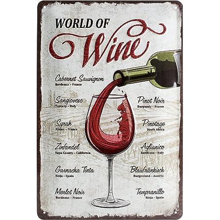Nostalgic-Art Cartel de Chapa Retro World of Wine – Idea de Regalo para los Aficionados al Vino, metálico, Diseño Vintage para decoración, 20 x 30 cm