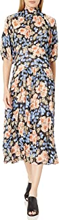 Rebecca Taylor womens Long Sleeve Floral Midi Dress With Tie at Neckline Dress