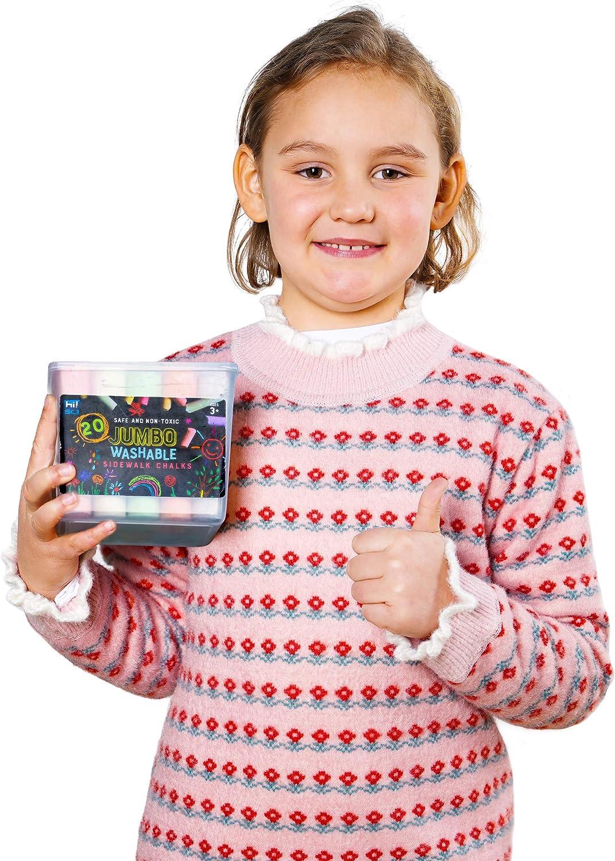 hi!SCI Jumbo Sidewalk Chalks for Kids 61 Pieces 7 Colors Non-Toxic Washable Outdoor Chalk Set