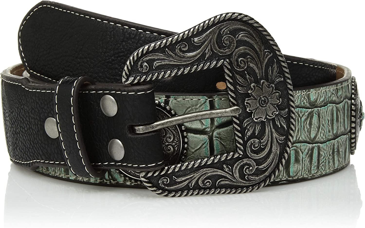 Nocona Belt Kansas City Mall Co. Women's Large discharge sale Turquoise Concho Taper Silver Crocodile