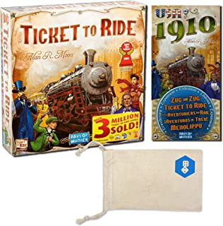 Days of Wonder's Ticket to Ride and Ticket to Ride: USA 1910 Expansion Bundle | Includes Convenient Drawstring Storage Pouch with Logo Printed