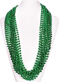 "(72 Pack) 33"" Inch Round Metallic Mardi Gras St Patricks Party Necklace Beads (Green)"