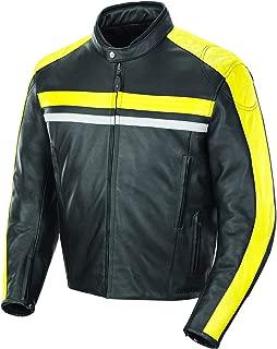 Joe Rocket Men's Old School Leather Jacket Black/Yellow Large
