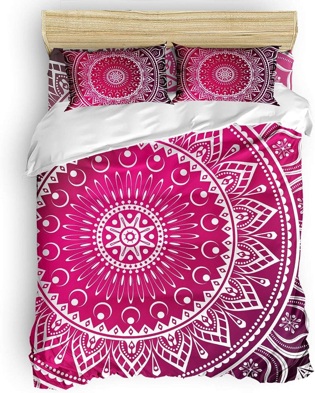 SunnyM Parure de lit 4 pièces avec Housse de Couette et 2 taies d'oreiller Motif Mandala Rose, Polyester, Mandala-0064147-s, California King