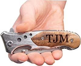 Personalized Engraved Tactical Assisted Opening Pocket Knife - Perfect Personalized Gifts, Groomsmen, Wedding, Christmas, Fathers Day Gift Wood (1, wood)