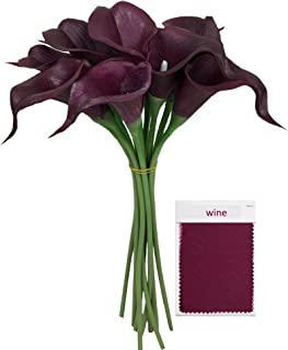 Angel Isabella lot of 60pc Real Touch Calla Lily-Fragrance Premium Quality Keepsake Artificial Flower Perfect for Cut to Make Boutonniere Corsage Bouquets(Wine)