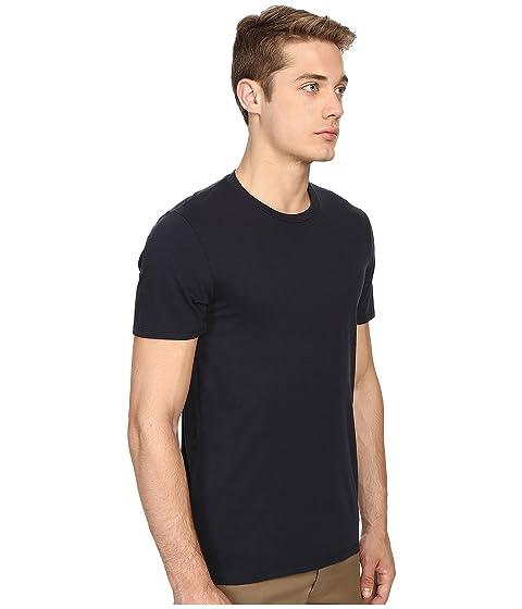 algodón Camisa de Pima con redondo corta de Vince cuello en manga q1q0xC