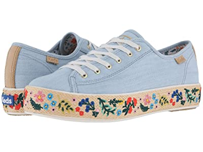 Keds x Rifle Paper Co. Triple Kick Embroidered Jute (Light Blue) Women