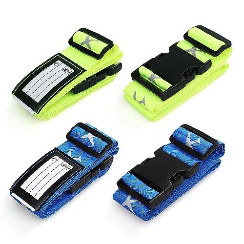 Swify 4 Pack Ceinture Sangle Valise Bagage Sécurité Réglable Voyage Accessoires Luggage Straps Boucle