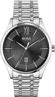 ساعة ستانلس ستيل للرجال بمينا سوداء اللون من هوغو بوس - 1513797