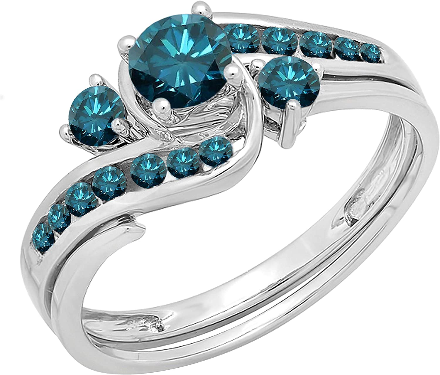 Dazzlingrock Collection 0.90 Carat ctw Round Blue Diamond Free shipping 14k Now free shipping