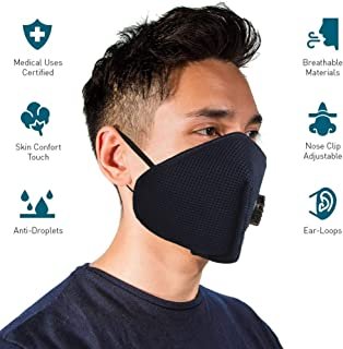 hotshot H95 Capacity 6 Layer Comfortable and Outdoor Protection Reusable I Washable Anti-Dust and Pollution Mask with Filtration/Respirator (Navy Blue) - Pack of 4