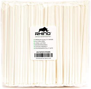 The Spice Lab Rhino White Drinking Eco-Friendly Biodegradable Paper Straws 7.75
