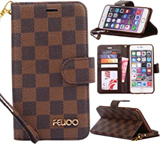 iPhone 6 Plus Case,GX-LV iPhone 6s Plus Case Luxury Leather Wallet Detachable Wrist Strap Flip Cover Case with Card Slots for Apple iPhone 6 Plus/iPhone 6S Plus,Brown