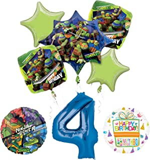 Teenage Mutant Ninja Turtles 4th Birthday Party Supplies and TMNT Balloon Bouquet Decorations