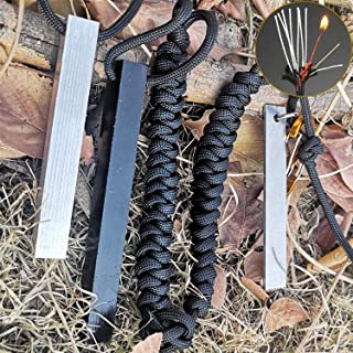 BSGB Fire Starter Square Edge 1/2� 5 Inch Lengths 30,000+ Strikes Drilled Ferro Rod with High Speed Steel Pro Striker 550 Survival Paracord Lanyard with Fishing Line Red Tinder Cord Cotton Thread