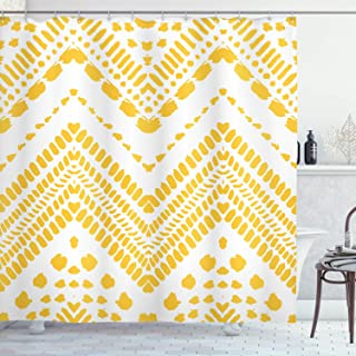 Ambesonne Yellow Chevron Shower Curtain, Hand Drawn Aztec Pattern Motif with Dashed Lines, Cloth Fabric Bathroom Decor Set with Hooks, 70