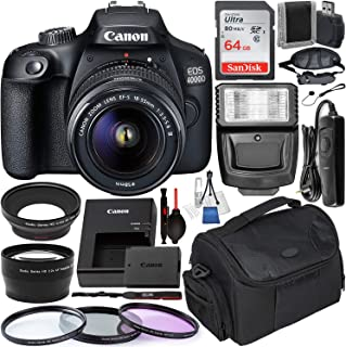 Canon EOS 4000D (Rebel T100) Digital SLR Camera w/ 18-55MM DC III Lens Kit (Black) Professional Accessory Bundle Package Includes: SanDisk 32gb Card (2CT) + 50'' Tripod + Canon Bag and More