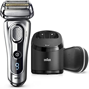 Braun Electric Razor for Men, Series 9 9291cc Electric Shaver with Precision Trimmer, Rechargeable, Wet & Dry Foil Shaver, Clean & Charge Station and Leather Travel Case